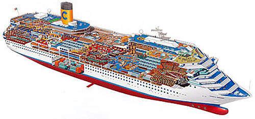 A cutaway of the ship showing the thirteen decks.