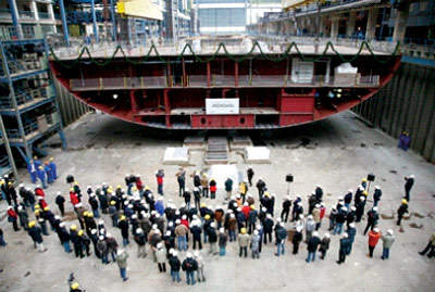 The AIDAbella's keel-laying ceremony at Papenberg.