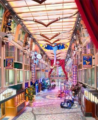 The Royal Promenade is the heart of shopping, entertainment and dining, and holds nightly parades.