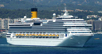 The vessel leaving the Mediterranean port of Palma.