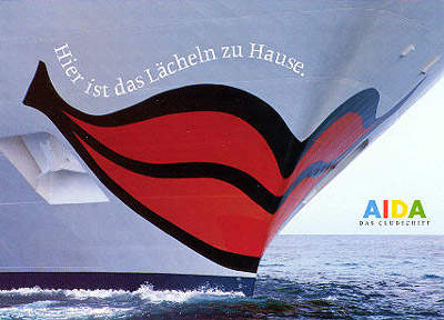 The distinctive bow design of AIDA ships.