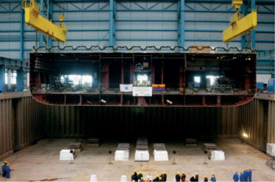 The keel being laid for the new Solstice-class, Celebrity Solstice.