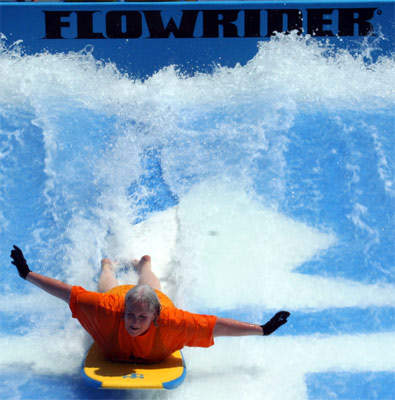 The Flowrider surfing simulator is the first on any ship.