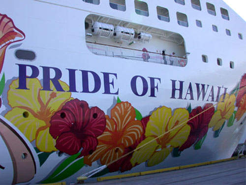 The livery represents the welcoming Hawaiian flower garlands given to visitors.