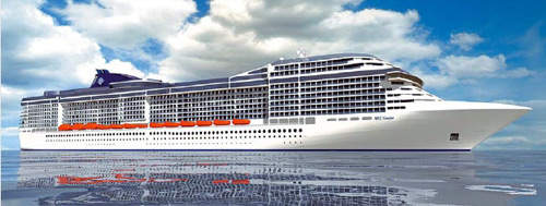 An artist's rendering of what the MSC Fantasia will look like in 2008 when it becomes operational.