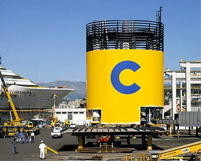 'Funnel' installation at the shipyard.
