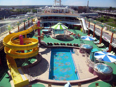 The Waikiki leisure pool is one of the ship's central attractions for the children aboard this very child-friendly ship.