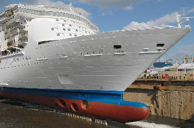 The vessel in dry dock during construction showing the bow.
